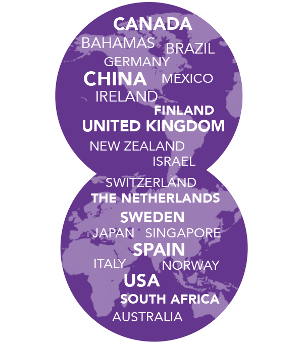 22 countries represented: Australia, Bahamas, Brazil, Canada, China, Finland, Germany,