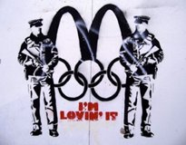 Olympic themed art has cropped up all over London, including this jab at McDonald's for insisting it be the only food purveyor allowed to sell French fries at London Olympic venues